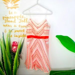 Milly Orange White Stripe Sleeveless Silk Dress